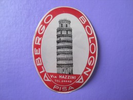 HOTEL ALBERGO PENSIONE BOLOGNA PISA ITALIA ITALY TAG DECAL STICKER LUGGAGE LABEL ETIQUETTE AUFKLEBER