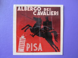 HOTEL ALBERGO PENSIONE CAVALIERI PISA ITALIA ITALY TAG DECAL STICKER LUGGAGE LABEL ETIQUETTE AUFKLEBER