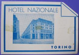 HOTEL ALBERGO PENSIONE NAZIONALE TORINO ITALIA ITALY TAG DECAL STICKER LUGGAGE LABEL ETIQUETTE AUFKLEBER