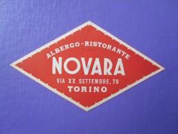 HOTEL ALBERGO PENSIONE NOVARRA TORINO ITALIA ITALY TAG DECAL STICKER LUGGAGE LABEL ETIQUETTE AUFKLEBER