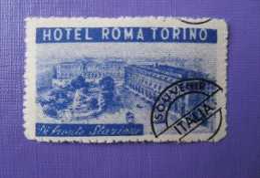 HOTEL ALBERGO PENSIONE ROMA STAMP MINI TORINO ITALIA ITALY TAG DECAL STICKER LUGGAGE LABEL ETIQUETTE AUFKLEBER