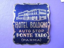 HOTEL ALBERGO PENSIONE BOLOGNA PONTE TARO PARMA ITALIA ITALY TAG DECAL STICKER LUGGAGE LABEL ETIQUETTE AUFKLEBER