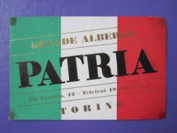 HOTEL ALBERGO PENSIONE PATRIA TORINO ITALIA ITALY TAG DECAL STICKER LUGGAGE LABEL ETIQUETTE AUFKLEBER