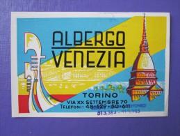HOTEL ALBERGO PENSIONE VENEZIA TORINO ITALIA ITALY TAG DECAL STICKER LUGGAGE LABEL ETIQUETTE AUFKLEBER