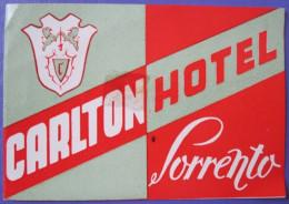 HOTEL ALBERGO PENSIONE CARLTON SORRENTO ITALIA ITALY TAG DECAL STICKER LUGGAGE LABEL ETIQUETTE AUFKLEBER