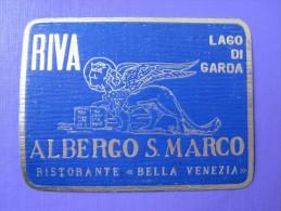 HOTEL ALBERGO PENSIONE MARCO RIVA LAGO DI GARDA SEE ITALIA ITALY TAG DECAL STICKER LUGGAGE LABEL ETIQUETTE AUFKLEBER