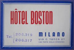 HOTEL ALBERGO PENSIONE BOSTON MILANO ITALIA ITALY TAG DECAL STICKER LUGGAGE LABEL ETIQUETTE AUFKLEBER