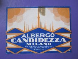 HOTEL ALBERGO PENSIONE CANDIDEZZA MILANO ITALIA ITALY TAG DECAL STICKER LUGGAGE LABEL ETIQUETTE AUFKLEBER