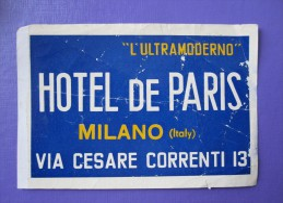 HOTEL ALBERGO PENSIONE PARIS FRANCE MILANO ITALIA ITALY TAG DECAL STICKER LUGGAGE LABEL ETIQUETTE AUFKLEBER
