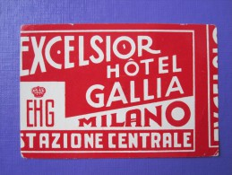 HOTEL ALBERGO PENSIONE ERROR EXCELSIOR GALLIA MILANO ITALIA ITALY TAG DECAL STICKER LUGGAGE LABEL ETIQUETTE AUFKLEBER