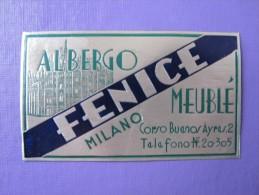 HOTEL ALBERGO PENSIONE FENICE MEUBLE MILANO ITALIA ITALY TAG DECAL STICKER LUGGAGE LABEL ETIQUETTE AUFKLEBER