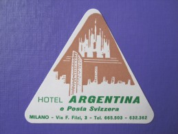 HOTEL ALBERGO PENSIONE ARGENTINA MILANO ITALIA ITALY TAG DECAL STICKER LUGGAGE LABEL ETIQUETTE AUFKLEBER