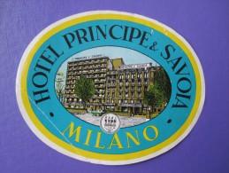 HOTEL ALBERGO PENSIONE PRINCIPE SAVOIA MILANO ITALIA ITALY TAG DECAL STICKER LUGGAGE LABEL ETIQUETTE AUFKLEBER