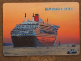 CUNARD QUEEN MARY 2 (QM2) LEAVING HAMBURG - FOIL CARD - Dampfer