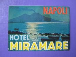 HOTEL ALBERGO PENSIONE MIRAMARE NAPLES NAPOLI ITALIA ITALY TAG DECAL STICKER LUGGAGE LABEL ETIQUETTE AUFKLEBER