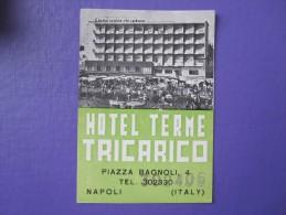 HOTEL ALBERGO PENSIONE TERME TRICARICO NAPLES NAPOLI ITALIA ITALY TAG DECAL STICKER LUGGAGE LABEL ETIQUETTE AUFKLEBER