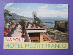 HOTEL ALBERGO PENSIONE MEDITERRANEO NAPLES NAPOLI ITALIA ITALY TAG DECAL STICKER LUGGAGE LABEL ETIQUETTE AUFKLEBER