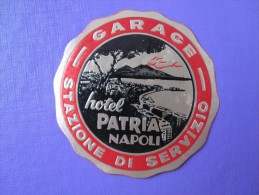 HOTEL ALBERGO PENSIONE PATRIA NAPLES NAPOLI ITALIA ITALY TAG DECAL STICKER LUGGAGE LABEL ETIQUETTE AUFKLEBER