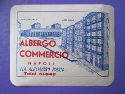 HOTEL ALBERGO PENSIONE COMMERCIO NAPLES NAPOLI ITALIA ITALY TAG DECAL STICKER LUGGAGE LABEL ETIQUETTE AUFKLEBER
