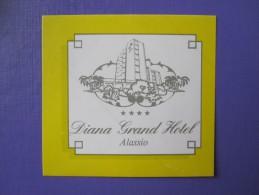 HOTEL ALBERGO PENSIONE DIANA GRAND ALASSIO ITALIA ITALY TAG DECAL STICKER LUGGAGE LABEL ETIQUETTE AUFKLEBER