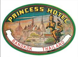 Vintage Luggage Label Etiquette d�h�tel: Princess Hotel Bangkok Tha�lande