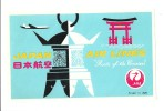 Vintage Luggage Label Etiquette d�h�tel: Japan Air Lines JAL