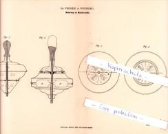 Original Patent  - Gg. Fischer In Nürnberg , 1882 , Neuerung An Musikkreiseln , Kreisel , Brummkreisel !!! - Antikspielzeug