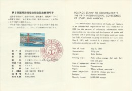 Japan 1967 Fifth International Conference Of Ports And Harbors, First Day Card - FDC