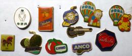 Lot 11X Pins Pin's  PUBLICITE POULAIN TEISSEIRE CIRIO ANCO TELEVIE CORA VIOLON O.N.A. CONCORDIA MAISBAL - Lots