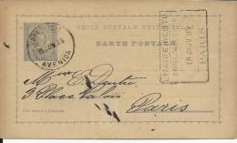 PORTUGAL - 1895 - CARTE ENTIER POSTAL De LISBONNE Pour PARIS - Entiers Postaux