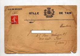 Lettre Cachet Tain Entete Ville De Tain - Storia Postale