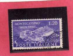 ITALIA REPUBBLICA ITALY REPUBLIC 1951 RICOSTRUZIONE ABBAZIA MONTECASSINO ABBEY REBUILDING LIRE 20 USATO USED OBLITERE´ - 1946-60: Oblitérés