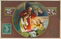 """ENFANTS - Jolie Carte Fantaisie Gaufrée Crèche Enfant Jésus Ange âne Boeuf De """"Joyeux Noël"""" (embossed Postcard) - Non Classés"""