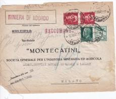 Raccomandata Miniera Di AGORDO Belluno X Milano  Imperiale + Propaganda Di Guerra Su FRONTESPIZIO - Marcophilia