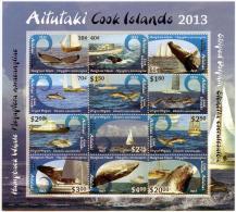 ait1302s1 Aitutaki 2013 Whale Dolphin Ship s/s Scott:612