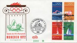 - ALLEMAGNE FEDERALE / DEUTSCHE BUNDESPOST - FDC AUGSBURG 5.6.1972 - Série Complète JEUX OLYMPIQUES MUNICH - - Estate 1972: Monaco