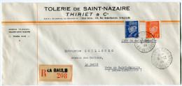 LETTRE COMMERCIALE RECOMMANDEE POCHE DE ST- NAZAIRE DEPART LA BAULE 6-12-44 LOIRE INFERIEURE POUR LA BAULE - Marcophilie (Lettres)