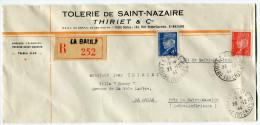 LETTRE COMMERCIALE RECOMMANDEE POCHE DE ST- NAZAIRE DEPART LA BAULE 23-12-44 LOIRE INFERIEURE POUR LA BAULE - Marcophilie (Lettres)