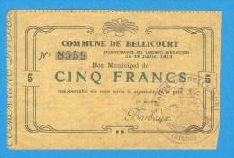 COMMERCE ) AISNE ( 02 ) Commune De Bellicourt - Cinq Francs -  (  Rare ) - Chamber Of Commerce