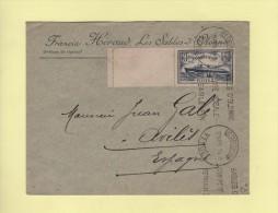 1f50 Normandie Seul Sur Lettre Destination Espagne - Les Sables D'Olonne - 18-11-1935 - Marcophilie (Lettres)