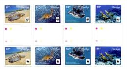 pen140301g Penrhyn 2014 WWF Pacific Green Turtle 4v Gutter fish