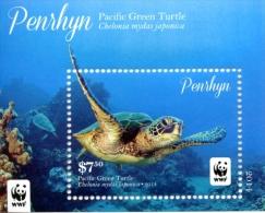 pen1403S1 Penrhyn 2014 WWF Pacific Green Turtle S/S