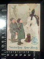 CHROMO AMIDON REMY LOUVAIN LEUWEN 1/2 CALENDRIER Octobre 1891 Mars 92 Bonhomme De Neige (état) - Petit Format : ...-1900
