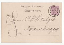 Allemagne   Carte Avec Entier Postal   Cachet De LÖFFINGEN  1889    Bade Wurtemberg - Germany