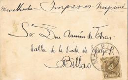 11159. Postal Impresos MADRID 1906  A Bilbao - 1889-1931 Reino: Alfonso XIII