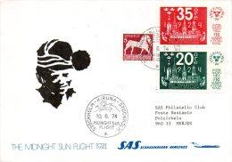 SUEDE. Enveloppe Commémorative Ayant Circulé En 1974. Vol Stockholm-Kiruna-Stockhol M/Midnight Sun Flight. - Polar Flights