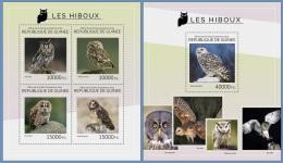 gu14414ab Guinea 2014 Birds Owl 2 s/s