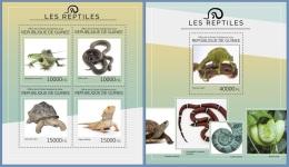gu14416ab Guinea 2014 Reptiles Snake Turtle 2 s/s