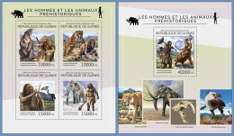 gu14422ab Guinea 2014 Prehistoric Humans Animals Elephant 2 s/s