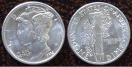 (J) USA: Silver Dime Mercury 1944 BU (339) - EDICIONES FEDERALES